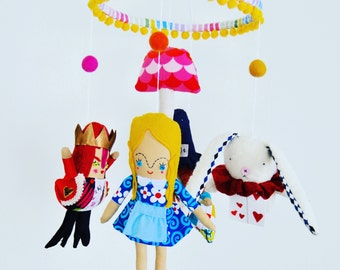 Alice In Wonderland Mobile //  A Bright and Colorful Mobile for Little Curious Adventurers