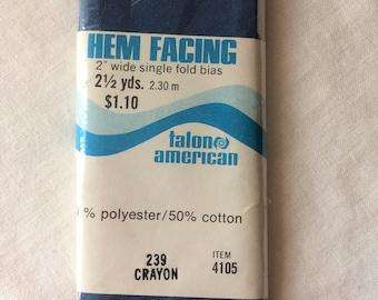 "Vintage New Bias Hem Facing 2"" wide x 2-1/2 yards long by Talon poly/cotton in Crayon Dark Blue"