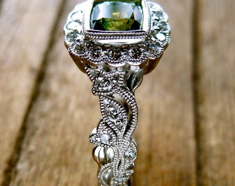 Green Sapphire Engagement Ring in Platinum with Diamonds in Flower Blossoms and Leafs Size 6