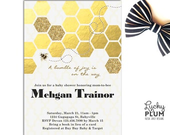 Bee Baby Shower Invitation / Bumble Bee Baby Invite / Honey Fly Animal Invite / Gold Glitter Geometric Black Gold Invite / *Digital file*