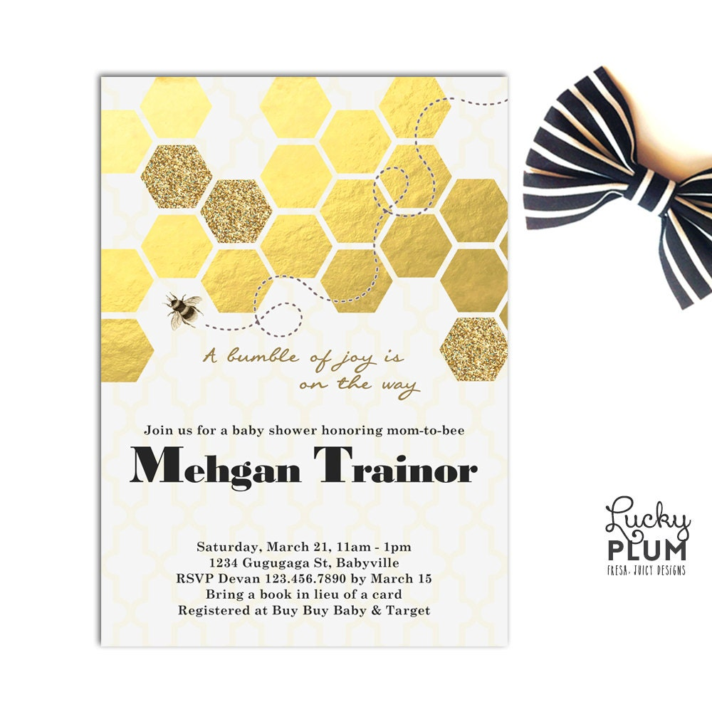 Bee Baby Shower Invitation / Bumble Bee Baby Invite / Honey
