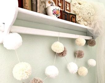 """Pom Pom Garland - Linen, Ivory, White - Yarn Pom Poms  2"""" - Baby - Bridal Shower - Garland - Birthday Wedding Ivory Pom Pom Decoration 6 Ft."""