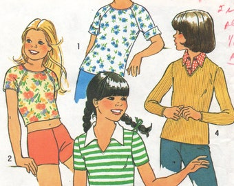 7559 Simplicity Sewing Pattern Girls Pullover Top Choice of Sleeves Size 7 Vintage 1970s