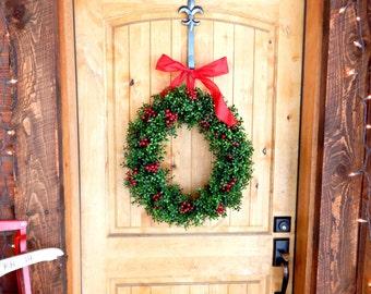 Christmas Wreath-WEATHERPROOF Wreath-Winter Wreath-Outdoor Wreath- BOXWOOD Wreath-Home Decor-Holiday Door Wreath-Scented Boxwood Wreath