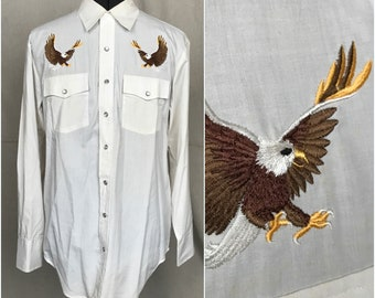 Western Shirt Embroidered Eagles Men's Pearl Snap Long Sleeve Southwestern Wind Jammer