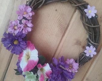 WREATH, Spring, Summer, Purple, Daisies, Morning glories, Wall decor, Door decor