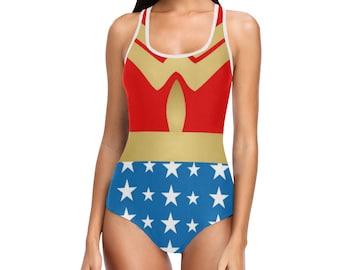 Wonder Woman insignes réservoir maillot de bain | Justaucorps de danse | Impression de gras | Design moderne | Une seule pièce nager porter patinage | Taille XS S M L XL 2XL 3XL