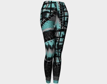 Patchwork yoga leggings, faux patchwork yoga leggings, aqua leggings, punk leggings by Felicianation Ink