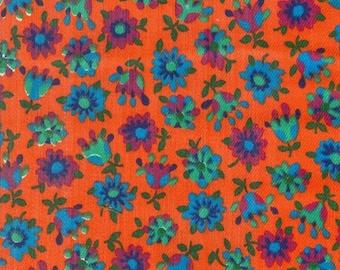 Vintage Orange Floral Fabric - 1 Yard