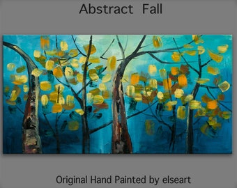 Tree art Original abstract painting autumn forest on oil painting canvas Ready to hang 48x24