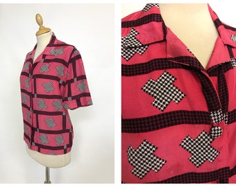 Vintage 1950s 1960s geometric print rayon shirt blouse- size M