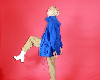 Electric Blue Suede Style Parka / Medium