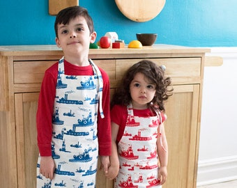 Tugboat Kids Apron - Kitchen Craft Art Play Apron - Children's Cotton Apron with Tugboats - Childs Organic Apron - GOTS Certified