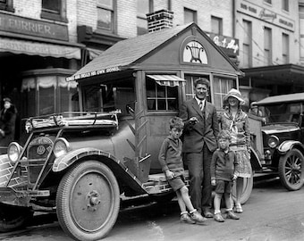 Family With Their RV 1920's Photo