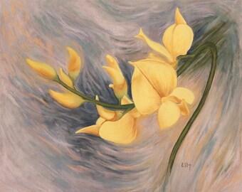 Peinture au pastel sec, Fleur sauvage jaune, Tableau unique, Oeuvre d'art originale