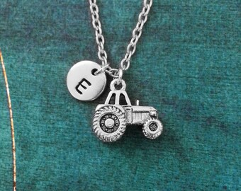 Tractor Necklace SMALL Tractor Jewelry Farming Necklace Farmer Necklace Farm Gift Tractor Charm Necklace Pendant Necklace Initial Necklace