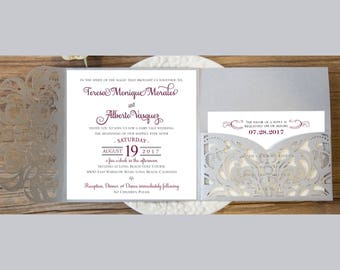 Gorgeous Square Laser Cut Wedding Invitations Pocket Wedding invitation Die Cut Laser Cut Traditional Silver Shimmer Pocket