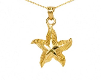 10k Yellow Gold Starfish Necklace