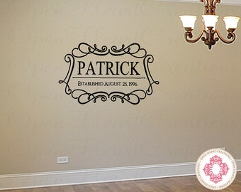 Family Monogram Wall Decal - Name with Elegant Frame Border and Year Established 22h x 36w PD0034