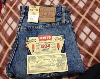 Brand New Vintage Levi's 532 Stright Denim Jeans Blue Stonewashed W29 L32 Made In Malta 90's