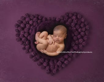 Digital Backdrop Digital Background newborn Photography prop plum heart wreath nest download for girl overlay purple shot on black #25