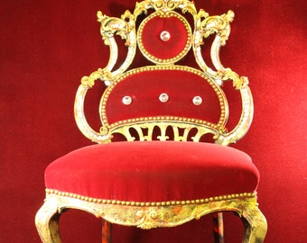 Hollywood Regency Chair Custom Red Velvet Gold