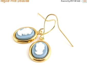 20%OFF SALE Cameo Earrings, Wedgewood Blue Cameo, Dangle Earrings