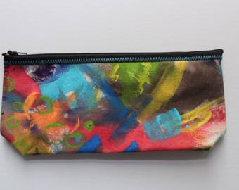 Canvas Zip Pouch - hand painted pencil makeup clutch ZPG01