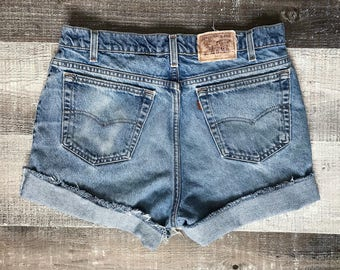 Levi's 70's Shorts High Waist Rise Vintage Levis Cut Off Shorts Levi Denim Cutoffs Distressed 540 Zip Fly Jean Shorts Medium Large 10 12 14