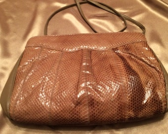 Richly Colored Vintage Palizzio Accessories Snake Skin and Leather Shoulder Bag