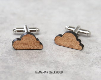 Cloud Cufflinks | Wood Cufflinks | 5th anniversary gift | Groomsmen Gift | Gifts for Him | Graduation Gift | Groom Gift | Gifts for Dad