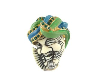 Selro Okina Pin/Blue Green Turban Rhinestone Pin/ White Noh Mask Okina (Hakushikijyo) Pin / Japanese Theater Noh  Mask/ Selro Devil  Brooch