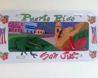 Puerto Rico License Plate with (San Juan scense)