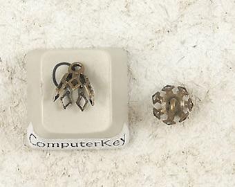 BULK PACK 100 Bell Caps, 7mm, 7 prong, antiqued bronze