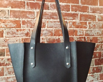 The Small Seamed Tote  (pictured in Black leather)