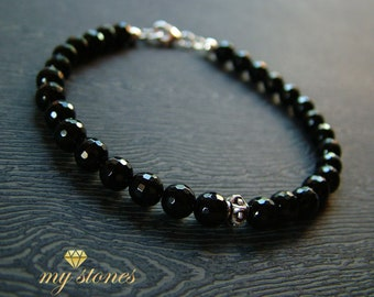 Male bracelet made of black agate and 925 silver