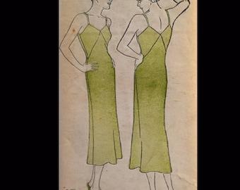 Vintage 30s Mid Calf Full Slip Lingerie Sewing Pattern 605 B40