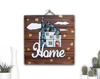 Wood Sign OOAK Original Painting Rustic Home Decor Farmhouse Decor, Housewarming Gift