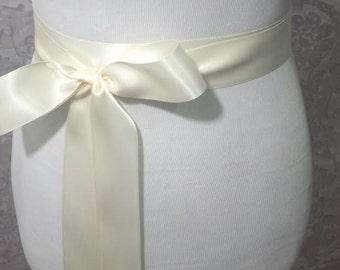 Ivory Satin Sash - Bridal belt - Flower Girl Sash -  bridal sash - bridal Satin sash -  Bridesmaid sash - Wedding Plain Satin Sash