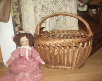 SALE Huge Vintage shopping Basket , Wicker shopper  vintage wicker Basket
