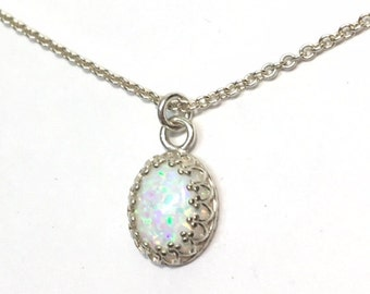 Sterling silver Opal Teardrop Pendant Necklace - Sterling Silver oval bezel and cable chain