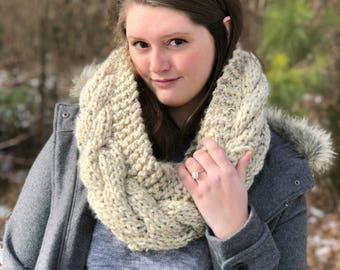 Oversized Cable Knit Infinity Scarf, Chunky Knit Infinity Scarf, Winter Scarf, Double Wrap Scarf, Cable Knit Winter Scarf, Gift for Her