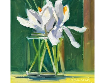 White Crocuses, Jelly Jar, on Green-springtime flowers - small bouquet
