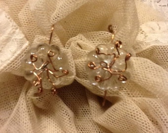 """Copper and crystal earrings. """"Flowers"""""""