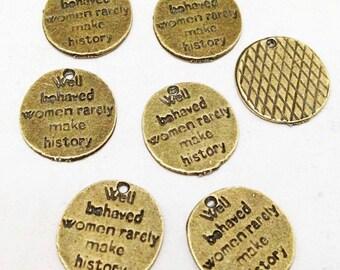 25pcs Antique Bronze Oval Tag Charm for Bracelets 14mm E407-1
