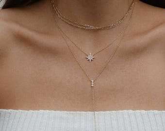 Starburst Necklace, Gold Necklace, Layering Necklace, Delicate Gold Necklace