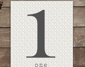 Numbers Print, 1, One, Vintage Inspired, Typography Art