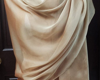 Gold Chiffon Shawl Wrap Scarf