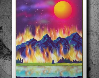 Montana is Burning - Print. 25% of all proceeds from this print to be donated to the United Way of Missoula County