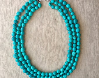 Turquoise Pambil Long Statement Necklace
